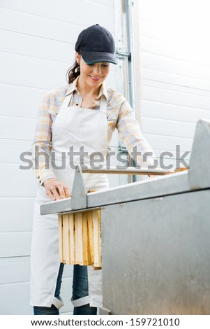 Young female beekeeper collecting honeycombs from machine at factory