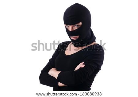 Young female burglar isolated on white - stock photo