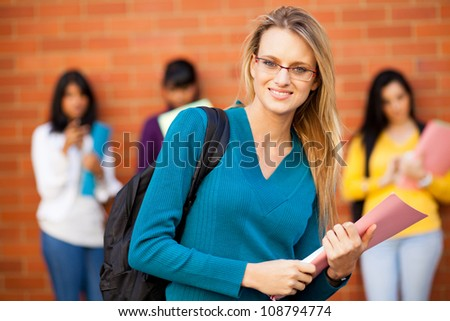 young female caucasian college student - stock photo