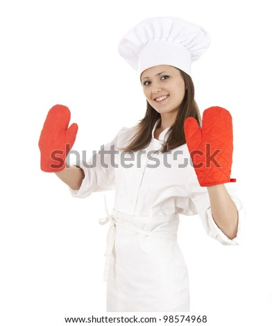 young female cook in white uniform and hat with red kitchen gloves - stock photo