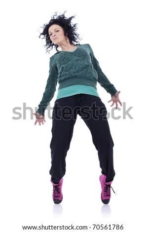 young female dancing on the a white background