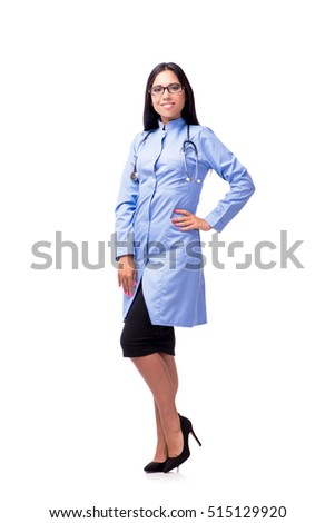 Young female doctor in medical concept isolated on white