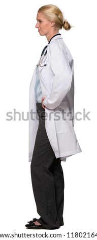 Young female doctor smiling in left profile - white background