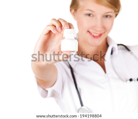 young female doctor, white background - stock photo