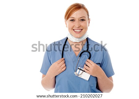 Young female doctor with stethoscope around neck