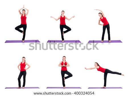 Young female doing exercises on white - stock photo