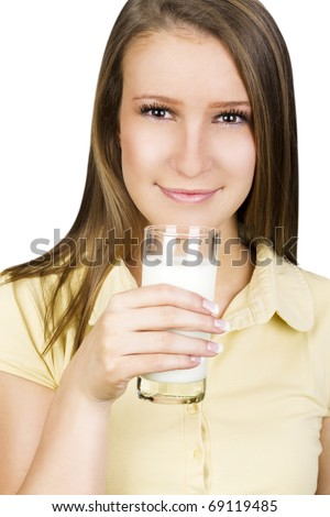 Young female drinking a glass of fresh milk