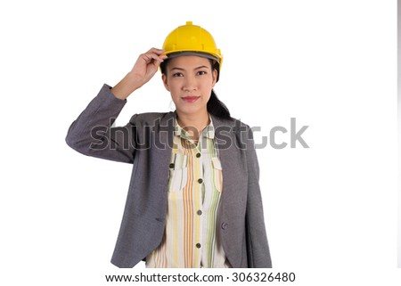 Young female engineer with isolated on white background