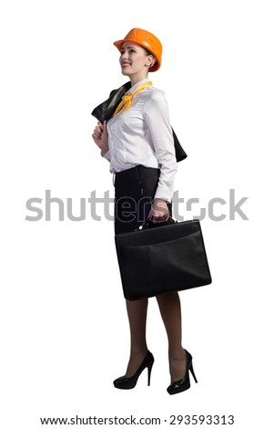 Young female engineer with suitcase in hardhat isolated on white