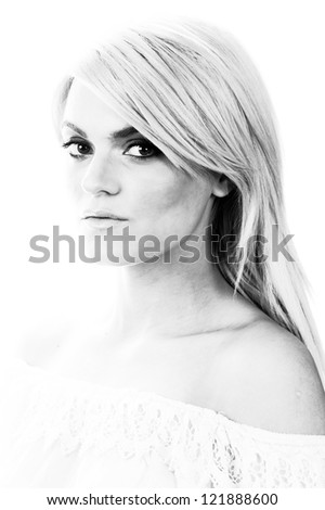 young female fashion model black and white head shot - stock photo