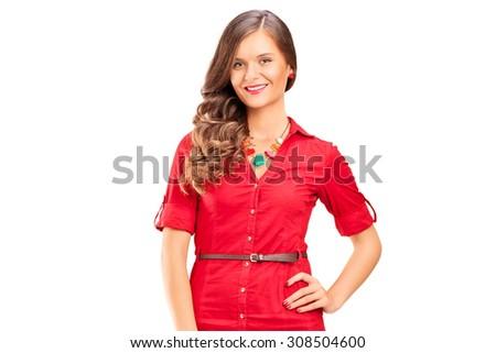 Young female fashion model isolated on white background - stock photo