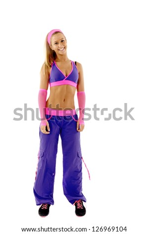 Young female fitness instructor on white isolated background - stock photo