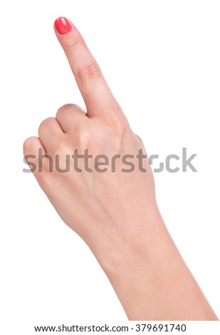 Young female forefinger isolated over white background - stock photo