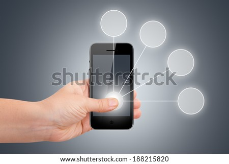Young female hand finger holding smart phone for selection list in digital screen on dark background. - stock photo