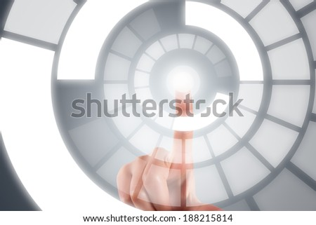 Young female hand finger touching, pressing on digital screen interface. - stock photo