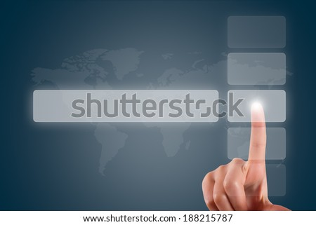 Young female hand finger touching, pressing or choosing button list on digital screen on dark background with copy space area.