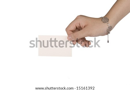 young female hand holding a white business card