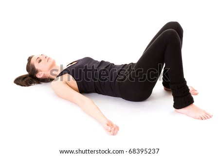 young female have some rest after fitness, studio shoot isolated on white - stock photo