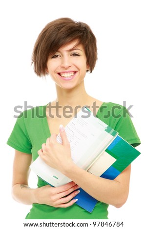 Young female holding an open book.isolated on white background