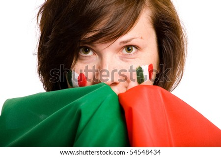 young female holds italian flag very close to her, isolated on white background