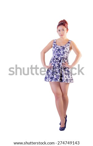 Young female in cute short dress