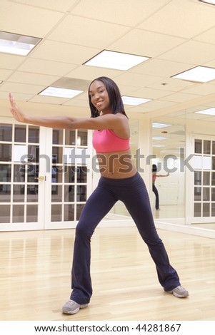 Young female in dancing pose