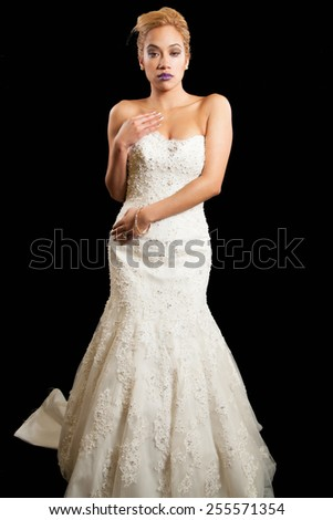 young female in wedding dress  - stock photo
