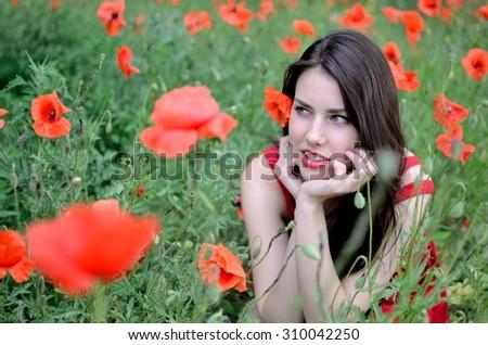 Beautiful Young Girl Poppy Field Stock Photo 473507380