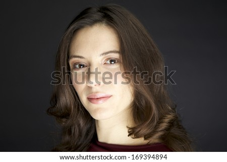 Young female Model with brown hair and soft skin