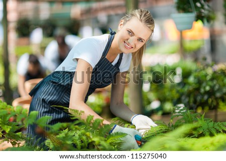 young female nursery worker working inside greenhouse - stock photo