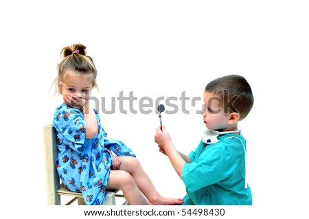 Young female patient refuses to cooperate with this young doctor and has her mouth covered during appointment.