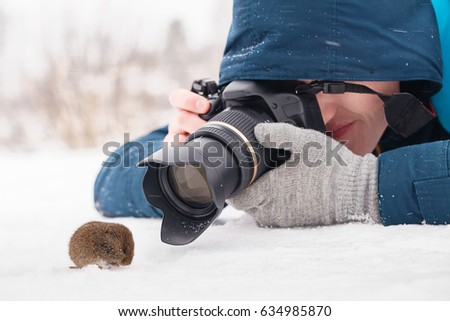 Young female photographer taking macro photos of a wood mouse (Apodemus sylvaticus) on snow, close-up