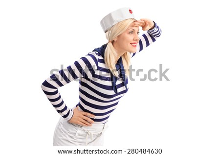 Young female sailor shading her eyes and looking in the distance isolated on white background - stock photo