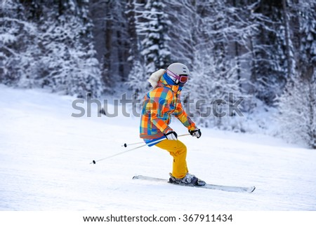 skier moving very fast forest offpiste stock photo. Black Bedroom Furniture Sets. Home Design Ideas