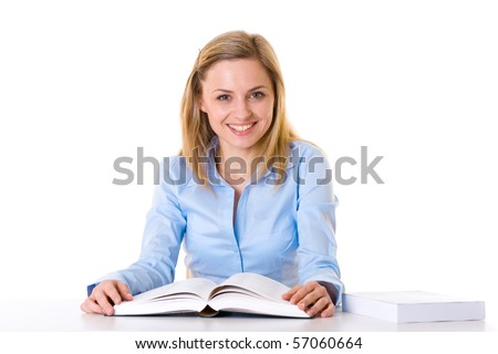 young female student reads book, blonde with blue shirt, studio shoot isolated on white background