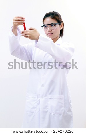 Young female tech or women asia scientist working biological laboratory and science and research biology chemistry on white background - stock photo