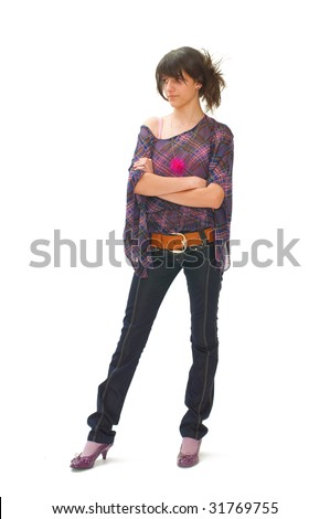 Young female teenager posing on white backgrounds - stock photo