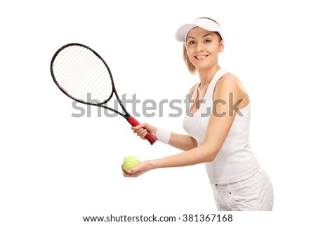 Young female tennis player serving isolated on white background
