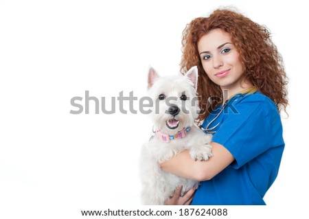 Young female vet caring of a cute dog