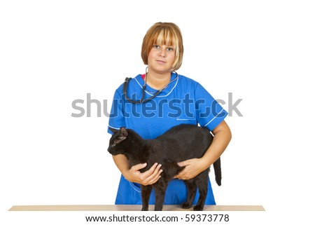 Young female  veterinary doctor with black tomcat on white background