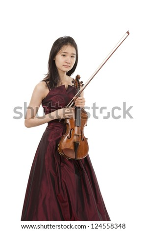 young female violin player - stock photo