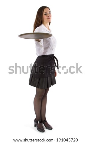 young female waitress holding blank tray for composites - stock photo
