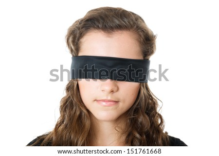 young female with black blindfold - stock photo