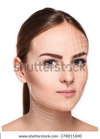 Young female with clean fresh skin - stock photo