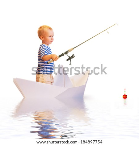 Young fisherman in papper boat isolated on white