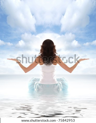 Young fit brunette meditating isolated on white - stock photo