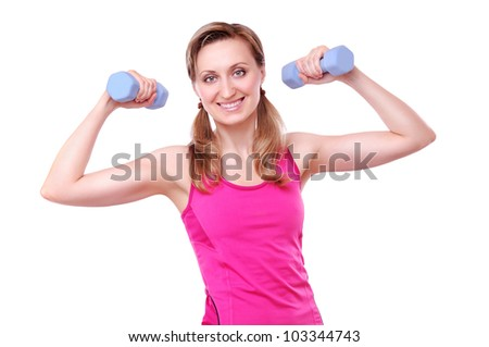 Young fitness girl making exercises isolated on white background