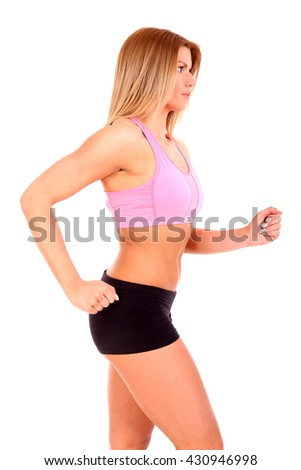 young fitness woman body with leg isolated on a white background