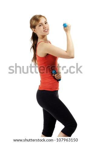 young fitness woman train with dumbbells on white background