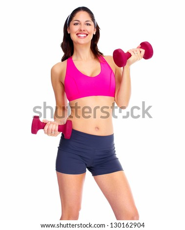 Young fitness woman with dumbbells. Isolated on white background. - stock photo